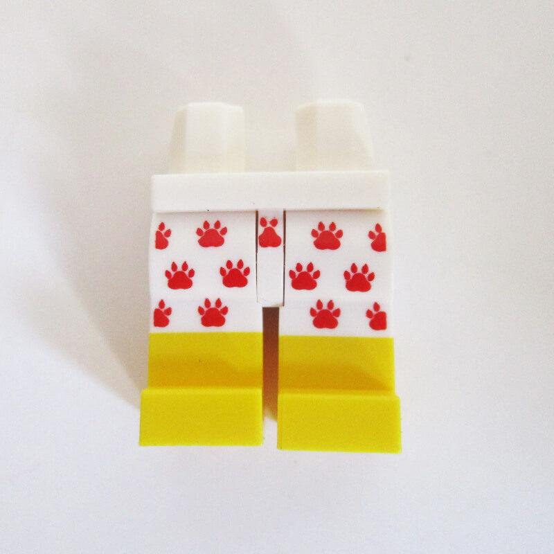 White w/ Red Paw Print Design