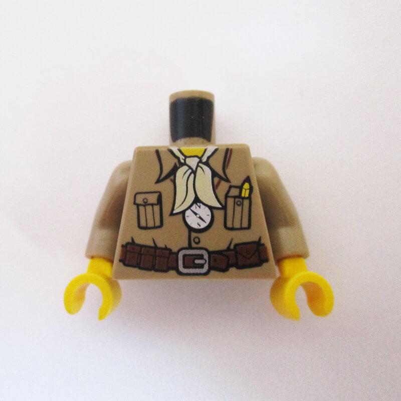 Tan Safari Shirt w/ Pockets, Belt, Pencil, Compass & Light Tan Scarf