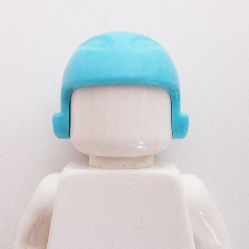 Ski/Sports Helm w/ Black Ponytail - Light Blue