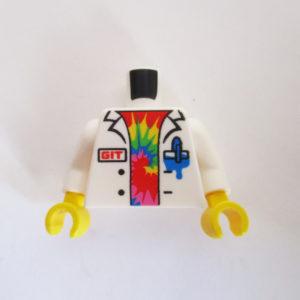 "White Lab Coat w/ ""GIT"" & Colored Tie Dye Shirt"