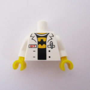 "White Lab Coat w/ ""GIT"" & Batman Logo On Shirt"