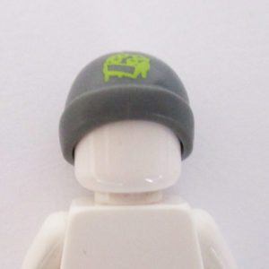 Ski Beanie - Dark Grey w/ Green Brick Graphic