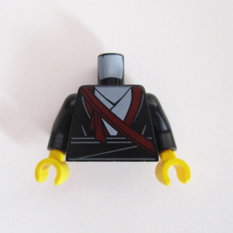 Black Layered Robe w/ Dark Red Shoulder Sash
