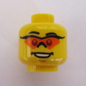 Dual Sided Head - Black Sports Frames & Orange Lenses w/ Open Mouth