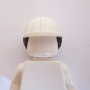 Construction Helm w/ Long Dark Brown Hair - White
