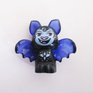 Bat - Black w/ Transparent Purple Wings, Ears & Ornate Designs