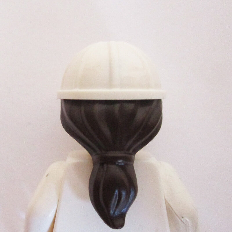 Construction Helm w/ Long Dark Brown Hair - White