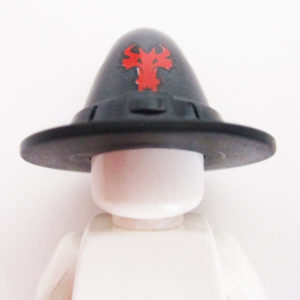Wizard Hat - Black w/ Red Dragon Head
