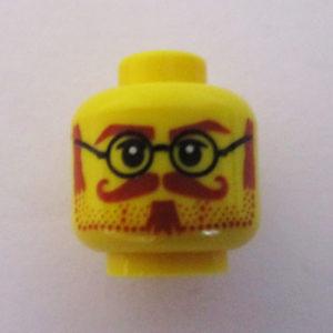 Dotted Stubble Beard w/ Twirly Mustache & Round Frames