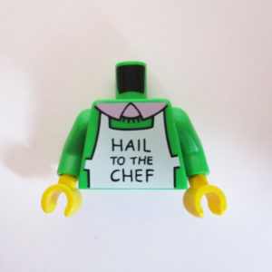 "Green w/ White Apron & ""Hail To The Chef"""