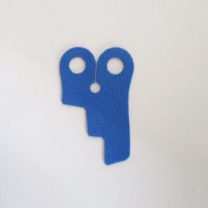 Blue, Step Cutouts on One Side - Stretchable Fabric