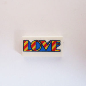 "White Tile w/ Red, Blue & Yellow ""LOVE"" Design"