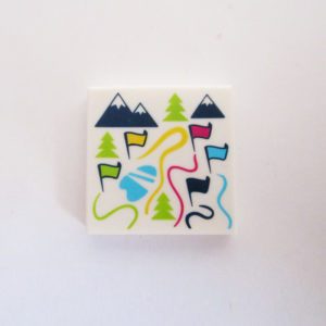 Map w/ Mountains, Flags & Ski Slopes