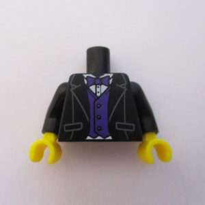 Black Jacket w/ Dark Purple Waist Coat & Tie