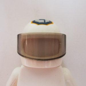 Standard Helm - White w/ Dark Blue, Silver & Yellow Graphic