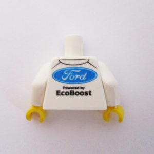 White & Blue Racing Suit w/ 'Ford' Logo & 'Ecoboost' Logos