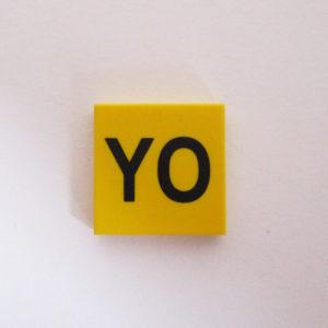 """Yellow Tile w/ """"YO"""""""