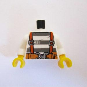 White & Grey Striped Top w/ Belt, Pliers & Rope