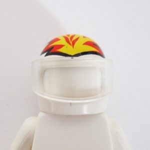 Standard Helm - White w/ Flame Design