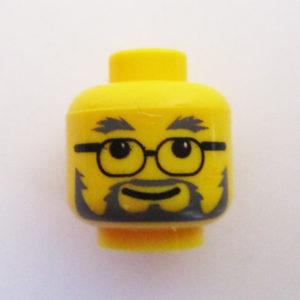 Full Beard & Mustache w/ Black Oval Lenses & Smile