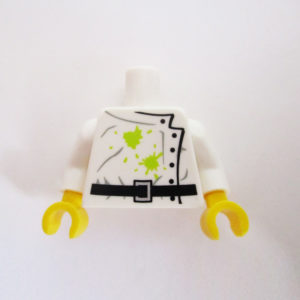 White Lab Coat w/ Black Belt, Buttons & Green Stains