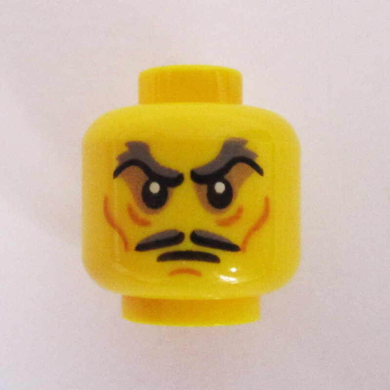 Dual Sided Head - Mustache, Raised Eyebrows w/ Angry Look
