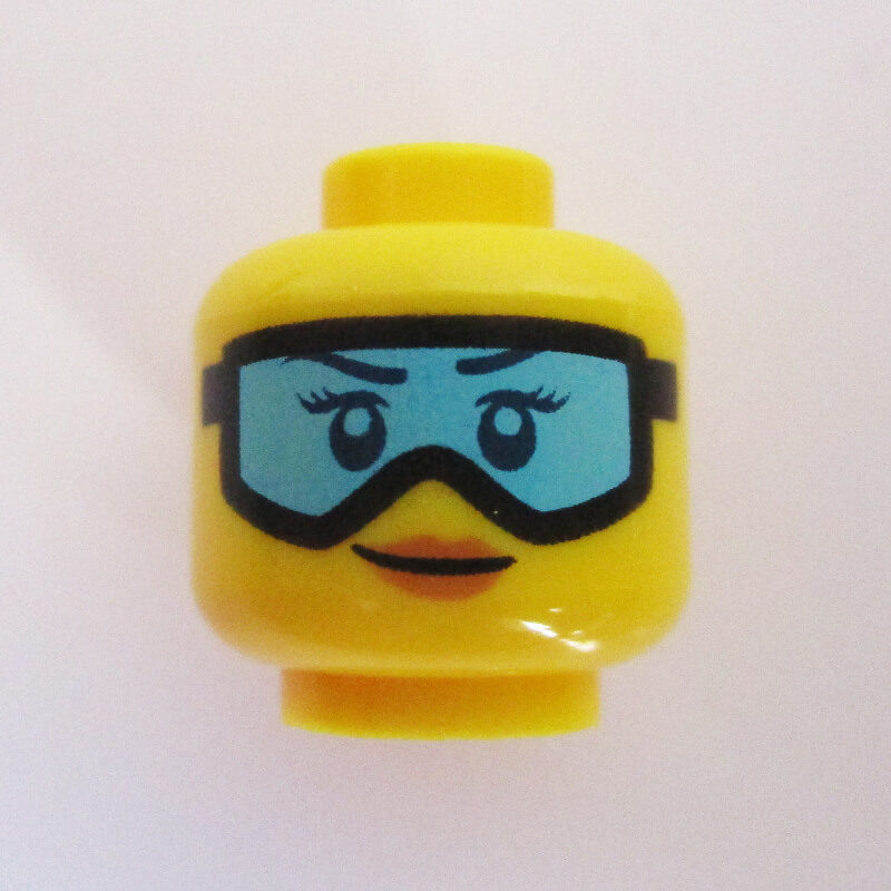 Peach Lips w/ Black Goggles & Turquoise Lenses