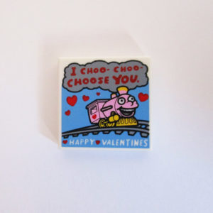"Tile w/ ""I Choo-Choo-Choose You"" & ""Happy Valentines"""