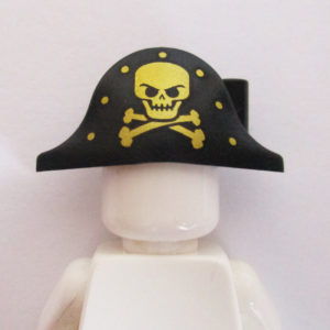 Pirate Hat w/ Skull & Crossbones - Black & Gold