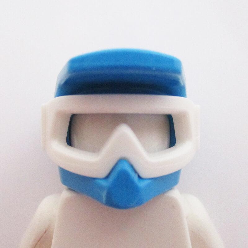 Motorbike Helm - Azure Blue w/ Sports Goggles