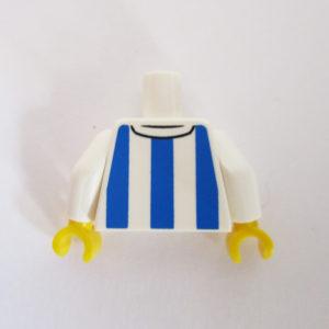 White & Blue Striped Soccer Shirt