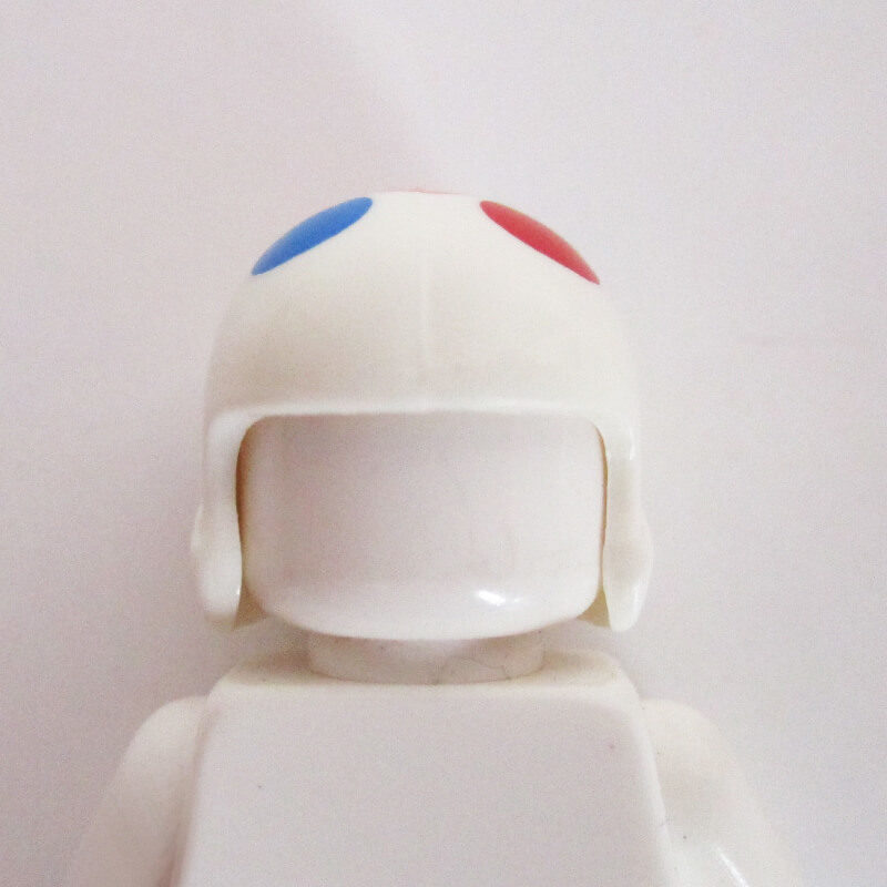 Open Face Helm - White w/ Colored Polka Dots
