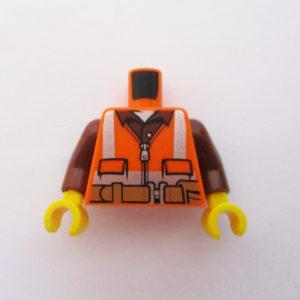 Orange Safety Vest w/ Brown Shirt & Pliers At Back
