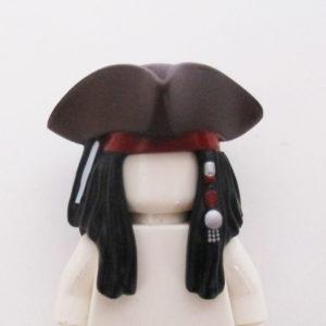 Dark Brown Hat w/ Long Black Hair, Beads & Bandana