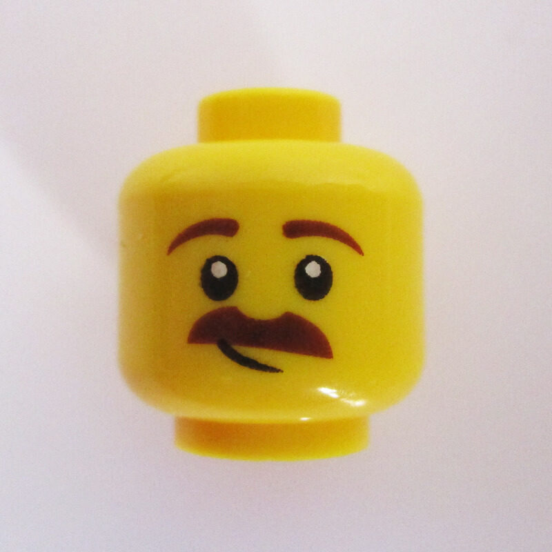 Dual Sided Head – Mustache w/ Open Mouth & Slight Grin