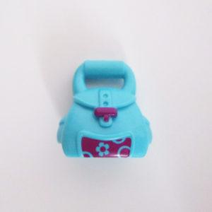 Handheld Bag - Azure Blue w/ Dark Pink Flower Graphic