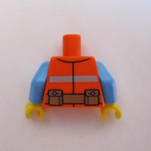 Orange Safety Vest w/ Blue Shirt & Chest Hair