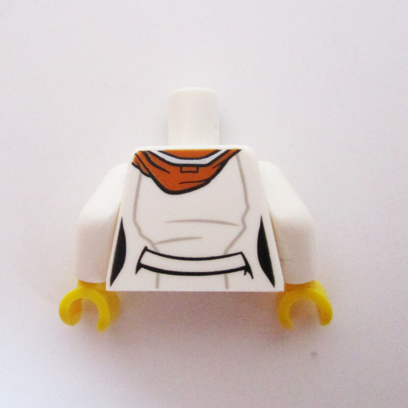 White Lab Coat w/ Dark Orange Hoodie & Glasses