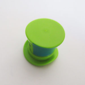 Large Top Hat w/ Ribbon - Lime Green & Turquoise w/ Flower