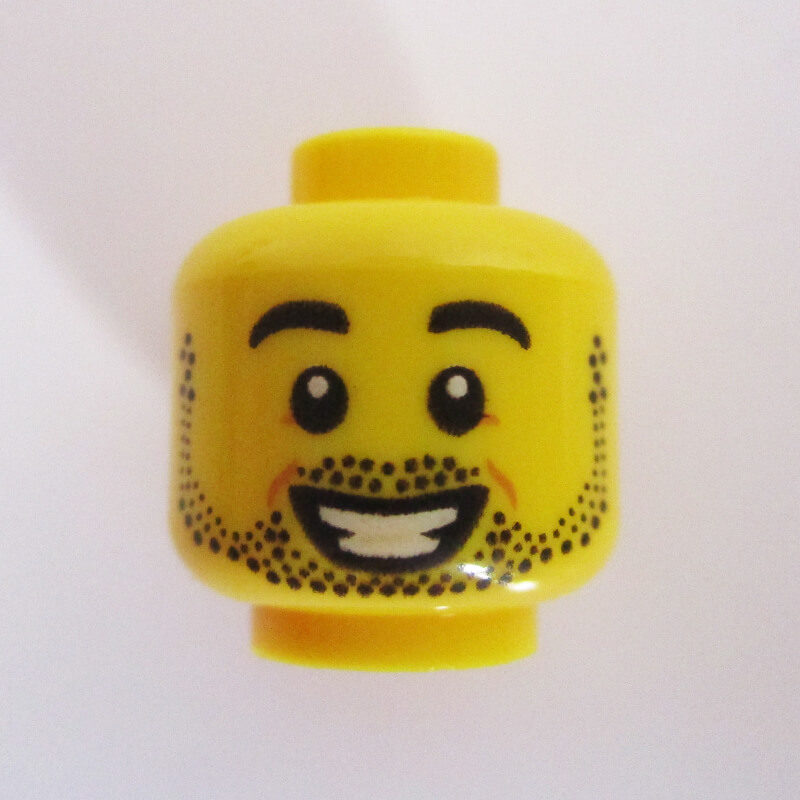 Dual Sided Head – Dotted Stubble Beard & Mustache w/ Big Grin