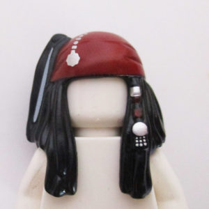 Long w/ 2 Sections In Front, Beads & Dark Red Headband