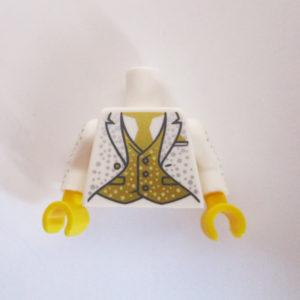 White Jacket w/ Silver Dots, Gold Waistcoat & Tie