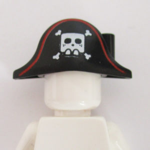 Pirate Hat w/ Skull & Crossbones - Black w/ Red
