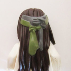 Long w/ 2 Sections In Front, Feathers & Olive Headband
