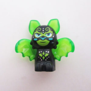 Bat - Black w/ Transparent Green Wings, Ears & Ornate Designs