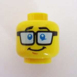 Dual Sided Head - Grin w/ Square Black Frames & Blue Lenses