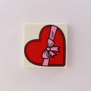 White Tile w/ Heart & Ribbon