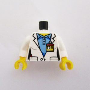 White Lab Coat w/ Identity Badge & Blue Shirt