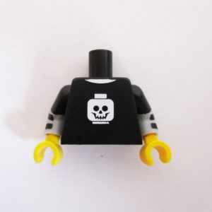 Black w/ Striped Sleeves & Minifig Skull Graphic