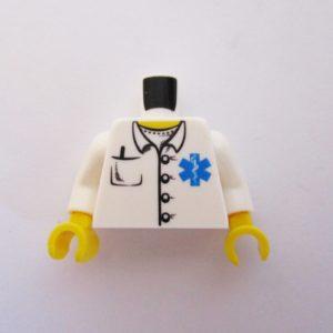 White w/ Medical Symbol & Pens in Pocket